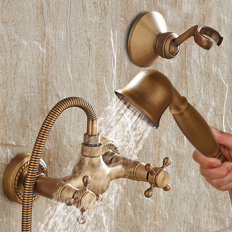 Wall Mounted Antique Brass Shower Faucet Set – Beds Baths and More